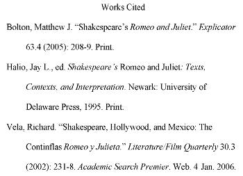 work cited bibliography format